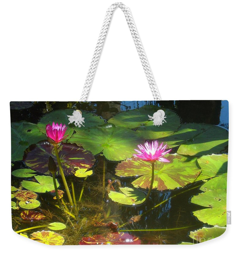 Water Weekender Tote Bag featuring the photograph Water Lilly Garden by Jennifer Lavigne