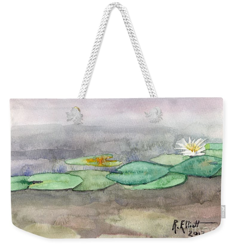 Acrylic Prints Weekender Tote Bag featuring the painting Water Lilly by John Herzog