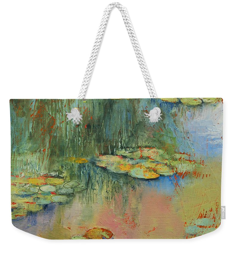 Red Weekender Tote Bag featuring the painting Water Lily by Michael Creese