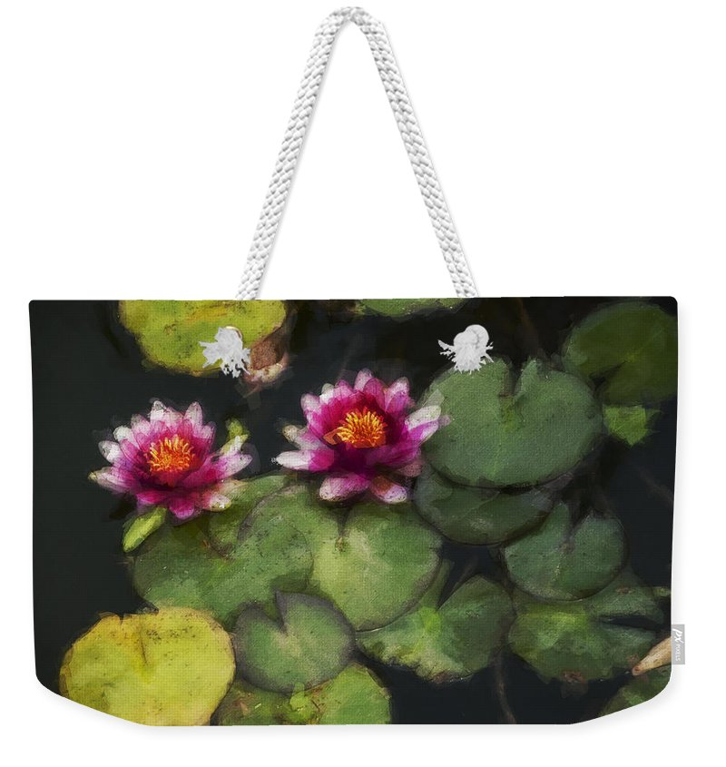 Water Lily Weekender Tote Bag featuring the photograph Water Lily Neo by David Lange