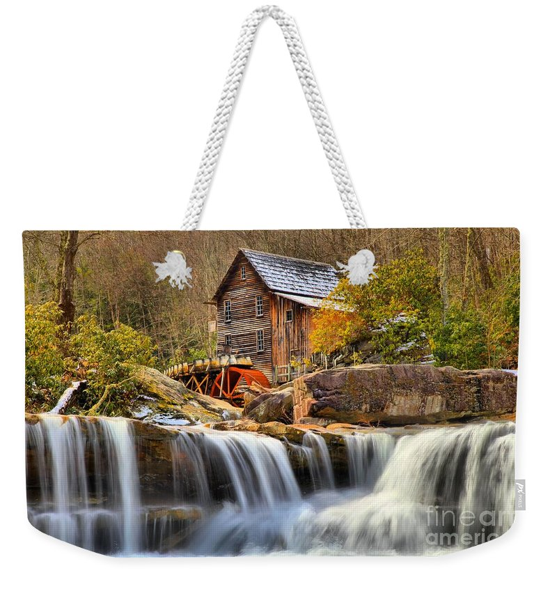 Glade Creek Weekender Tote Bag featuring the photograph Water Powered by Adam Jewell