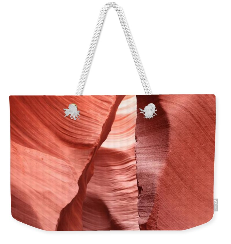 Arizona Slot Canyon Weekender Tote Bag featuring the photograph Water Sculpted Walls by Adam Jewell