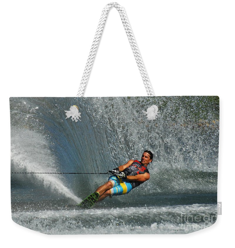 Water Skiing Weekender Tote Bag featuring the photograph Water Skiing Magic Of Water 14 by Bob Christopher