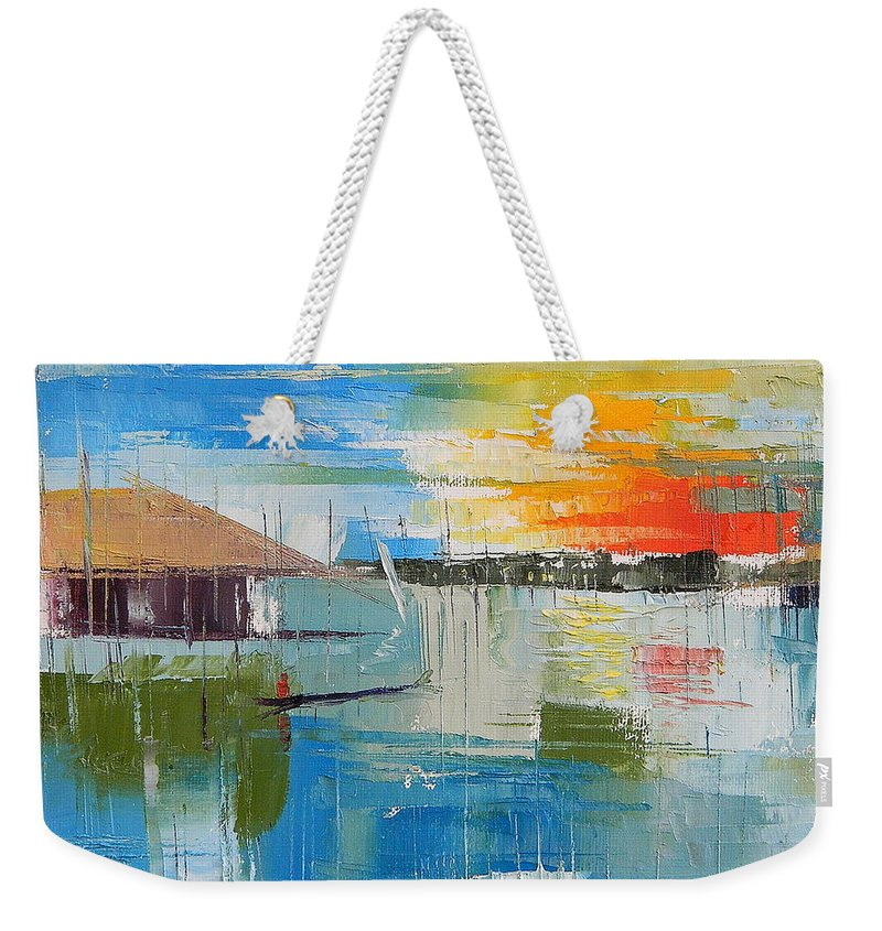 Lagos Weekender Tote Bag featuring the painting Water Taxi by Said Oladejo-lawal