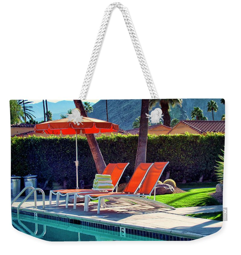 Pool Weekender Tote Bag featuring the photograph Water Waiting Palm Springs by William Dey