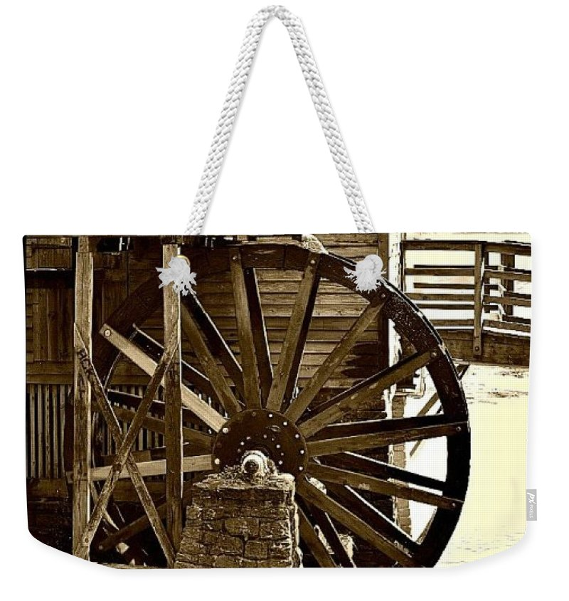 Waterwheel Weekender Tote Bag featuring the photograph Water Wheel At The Grist Mill by Tara Potts