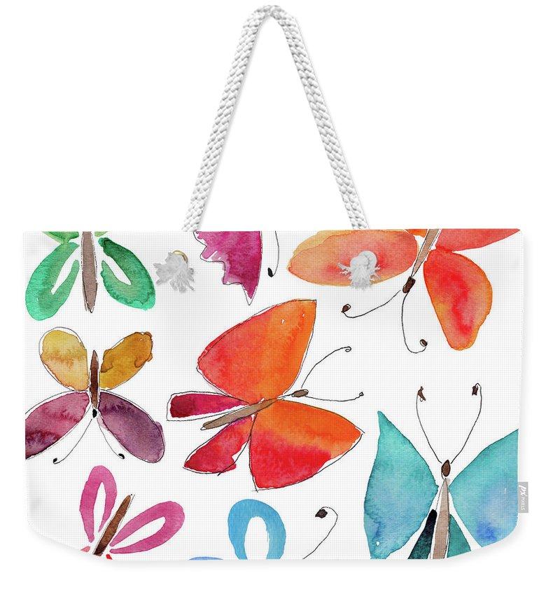 Watercolor Painting Weekender Tote Bag featuring the digital art Watercolor Butterflies by Anndoronina