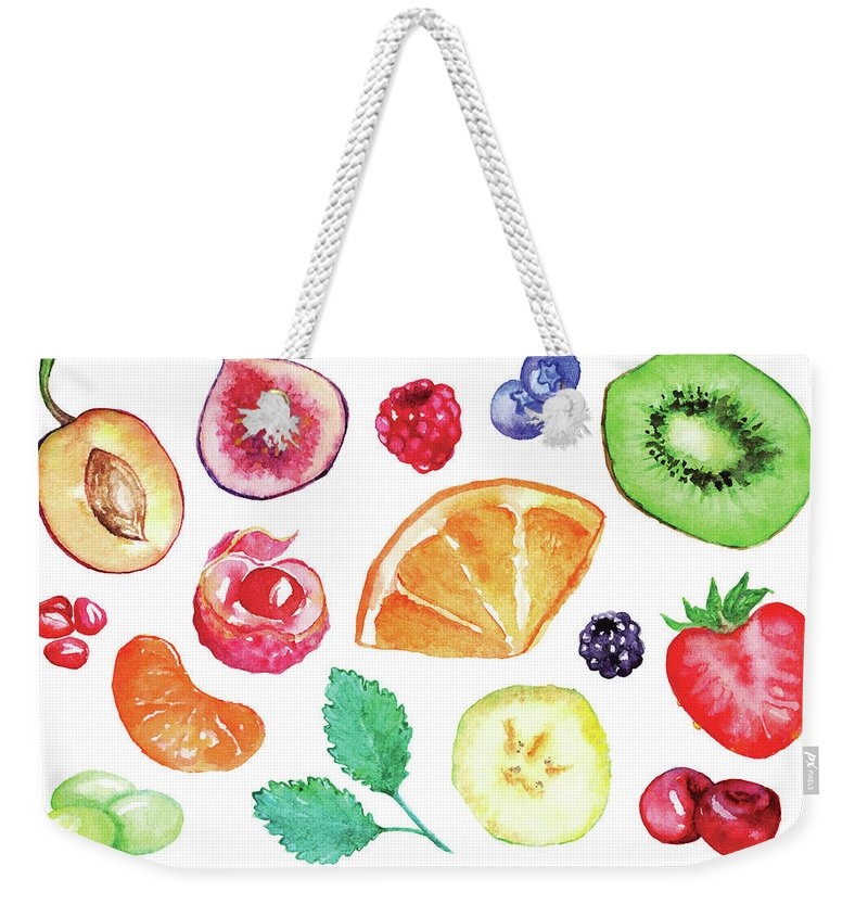 Cherry Weekender Tote Bag featuring the digital art Watercolor Exotic Fruit Berry Slice Set by Silmairel