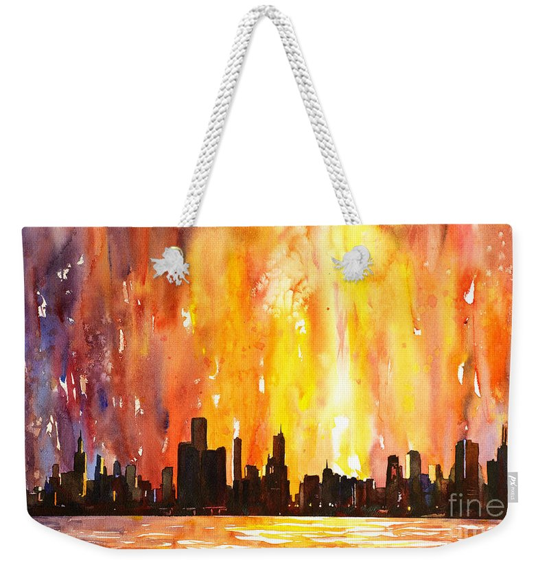 Architecture Chicago Weekender Tote Bag featuring the painting Watercolor Painting Of Skycrapers Of Downtown Chicago As Viewed by Ryan Fox
