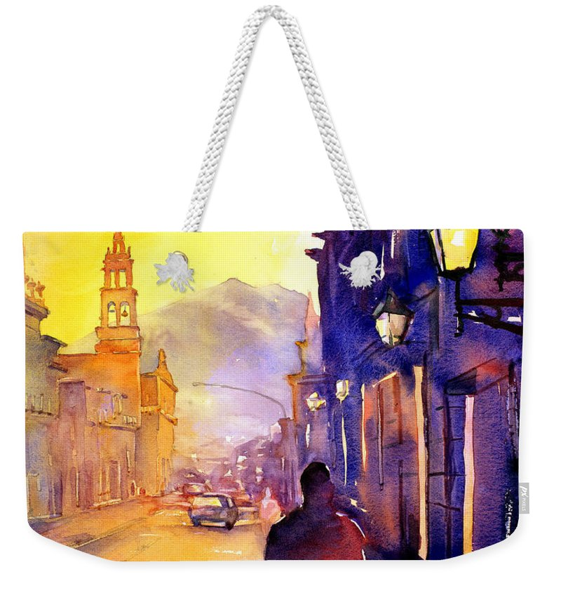 American Watercolor Society Weekender Tote Bag featuring the painting Watercolor Painting Of Street And Church Morelia Mexico by Ryan Fox