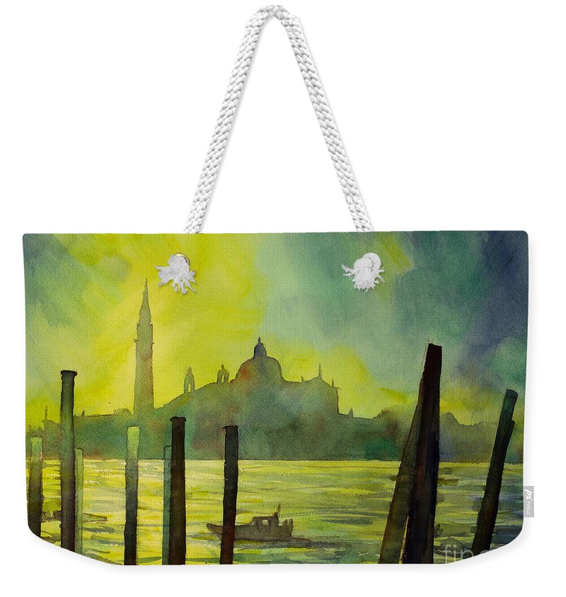 Bell-tower Weekender Tote Bag featuring the painting Watercolor Painting Of The Dome Of San Giorgio Maggiore Church I by Ryan Fox