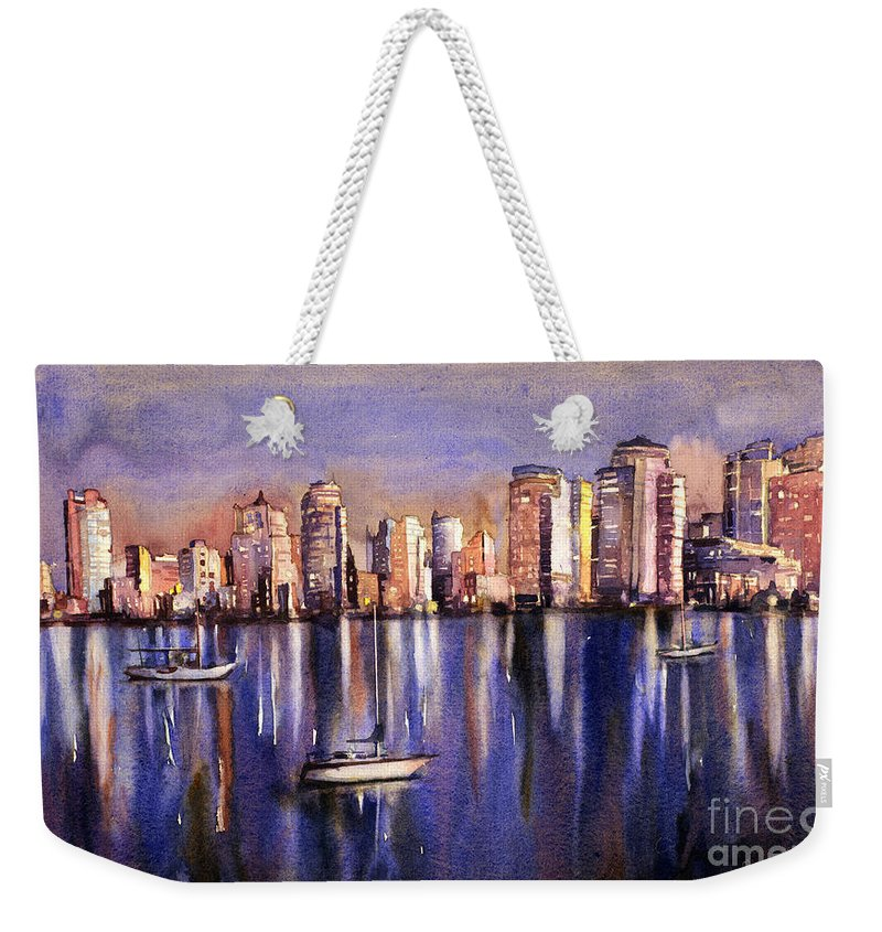 Automobile Weekender Tote Bag featuring the painting Watercolor Painting Of Vancouver Skyline by Ryan Fox