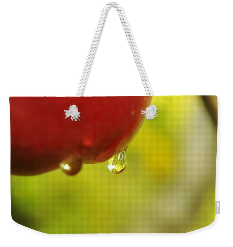 Fruit Weekender Tote Bag featuring the photograph Waterdrop Sliding Off An Apple by Jeff Swan