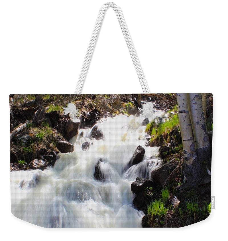 Waterfall Weekender Tote Bag featuring the photograph Waterfall By The Aspens by Shane Bechler