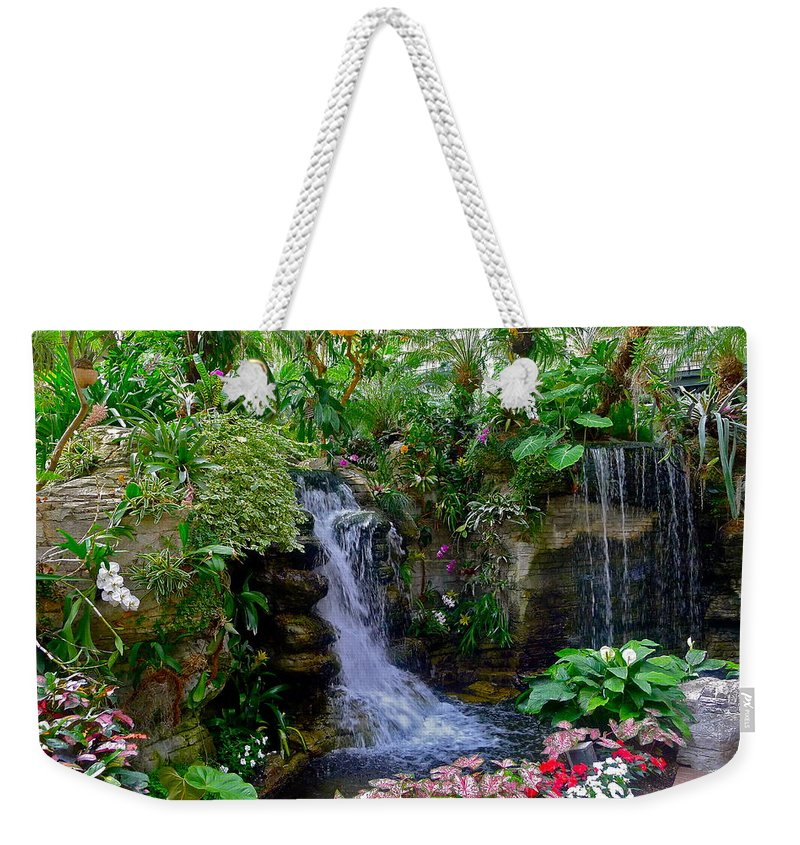 Waterfall Weekender Tote Bag featuring the photograph Waterfall Garden by Denise Mazzocco