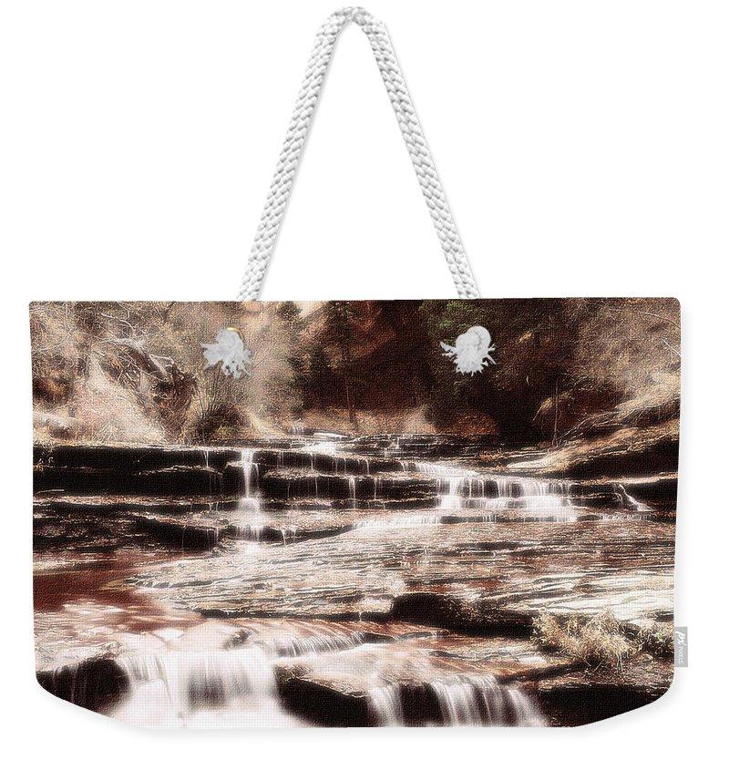 Waterfall Weekender Tote Bag featuring the digital art Waterfall In Sepia by Lyriel Lyra