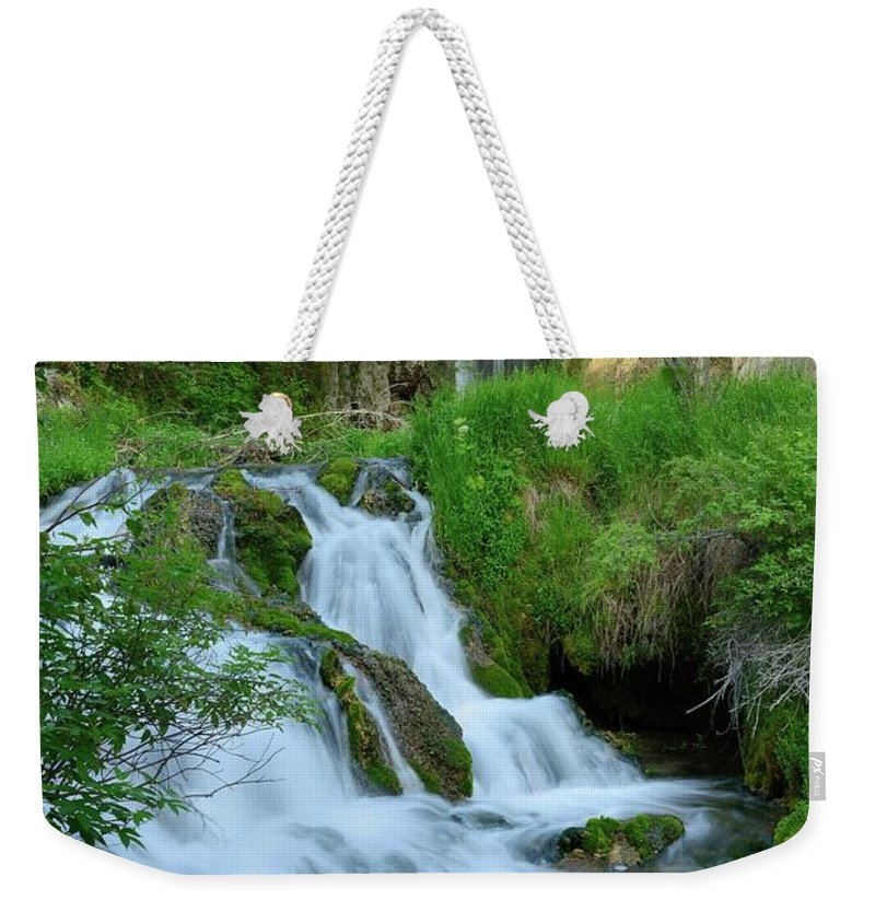 Scenics Weekender Tote Bag featuring the photograph Waterfall In Spearfish Cayon South by Groveb