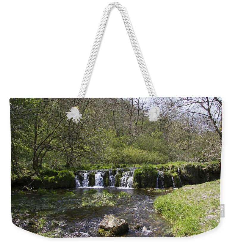 Lathkill Dale Weekender Tote Bag featuring the photograph Waterfall Lathkill Dale Derbyshire by Bob Kemp