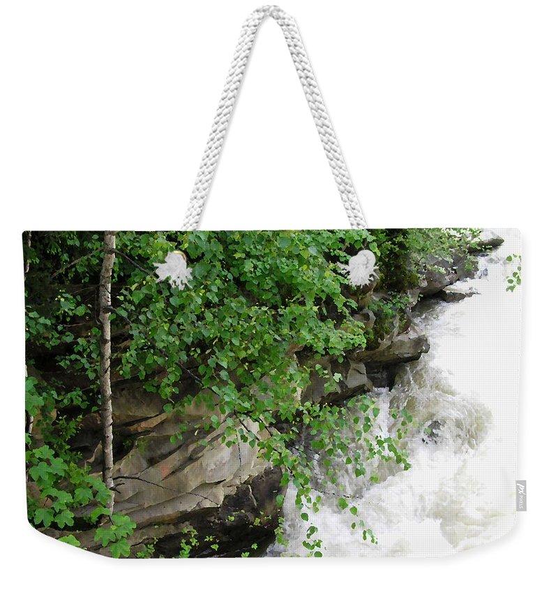 Cheremosh River Waterfall Stream Weekender Tote Bag featuring the photograph Waterfall by Oleg Zavarzin