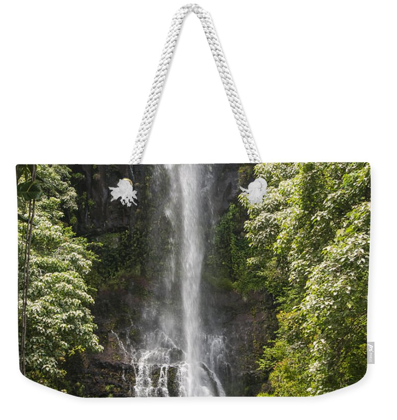 Wailua Falls Road To Hana Maui Hawaii Waterfall Waterfalls Water Landscape Landscapes Tree Trees Vine Vines Fern Ferns Nature Waterscape Waterscapes Weekender Tote Bag featuring the photograph Waterfall On The Road To Hana by Bob Phillips