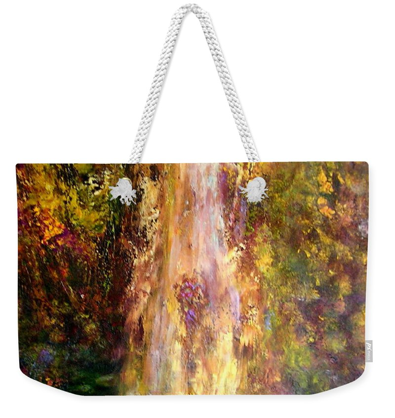 Landscape Weekender Tote Bag featuring the painting Waterfall by Sylva Zalmanson