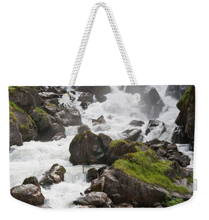 Beauty Weekender Tote Bag featuring the photograph waterfalls in Pre Saint Didier by Antonio Scarpi