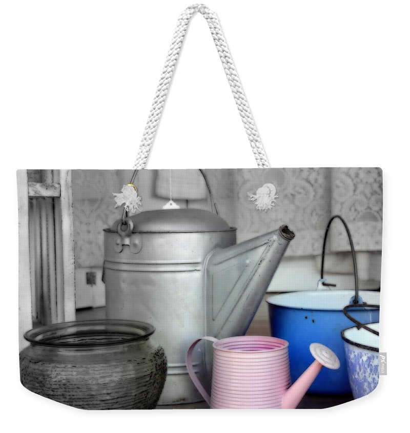 Pots Weekender Tote Bag featuring the photograph Watering Cans And Buckets by Kathy Barney
