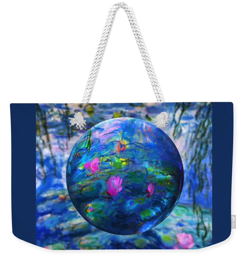 Claude Monet Waterlily Like Weekender Tote Bag featuring the painting Lilly Pond by Robin Moline