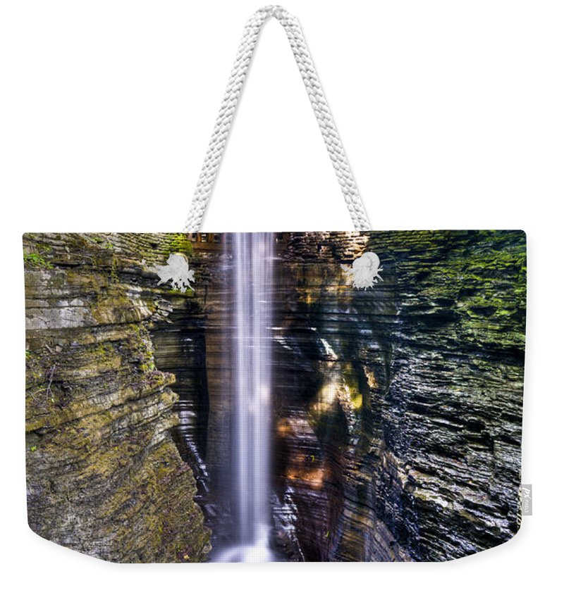 Watkins Glen Weekender Tote Bag featuring the photograph Watkins Glen Cascade by Anthony Sacco