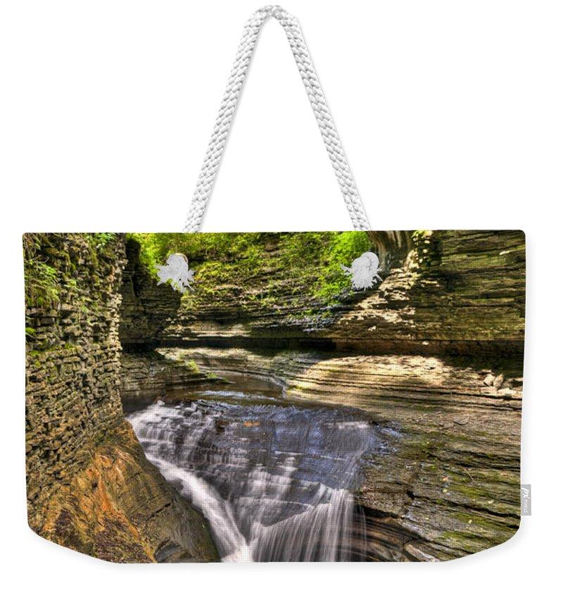 Watkins Glen Weekender Tote Bag featuring the photograph Watkins Glen Waterfalls by Anthony Sacco