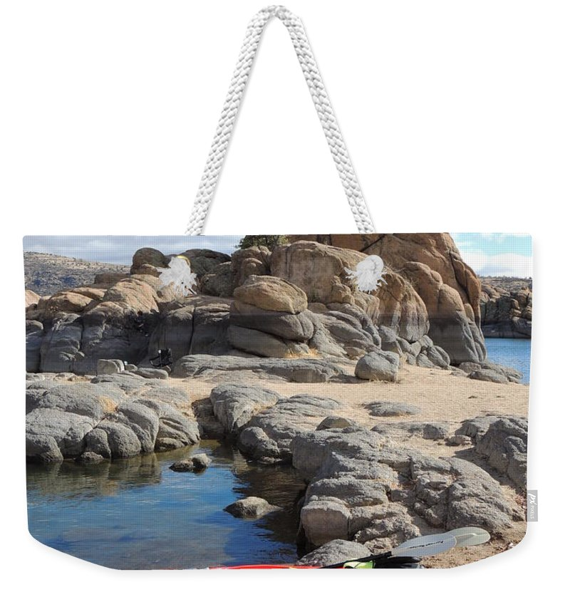 Watson Lake Weekender Tote Bag featuring the photograph Watson Lake by Diane Greco-Lesser
