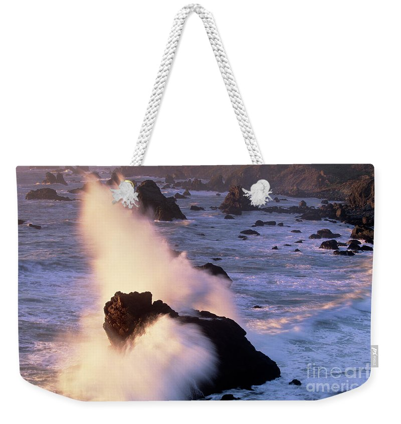 California Weekender Tote Bag featuring the photograph Wave Crashing On Sea Mount California Coast by Dave Welling