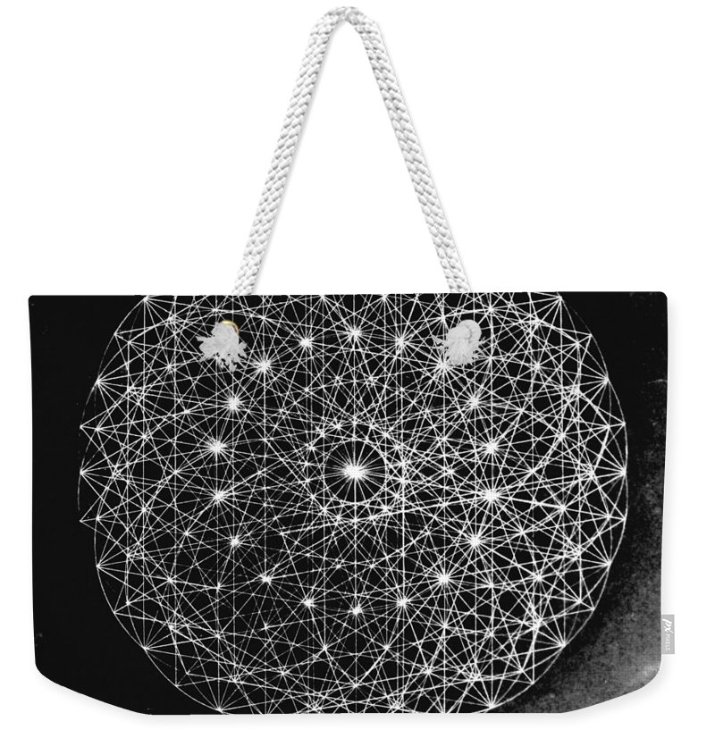 Jason Weekender Tote Bag featuring the drawing Wave Particle Duality Black White by Jason Padgett