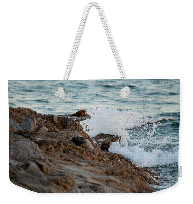 Nature Weekender Tote Bag featuring the photograph Waves Hitting The Rocks by Cynthia Guinn