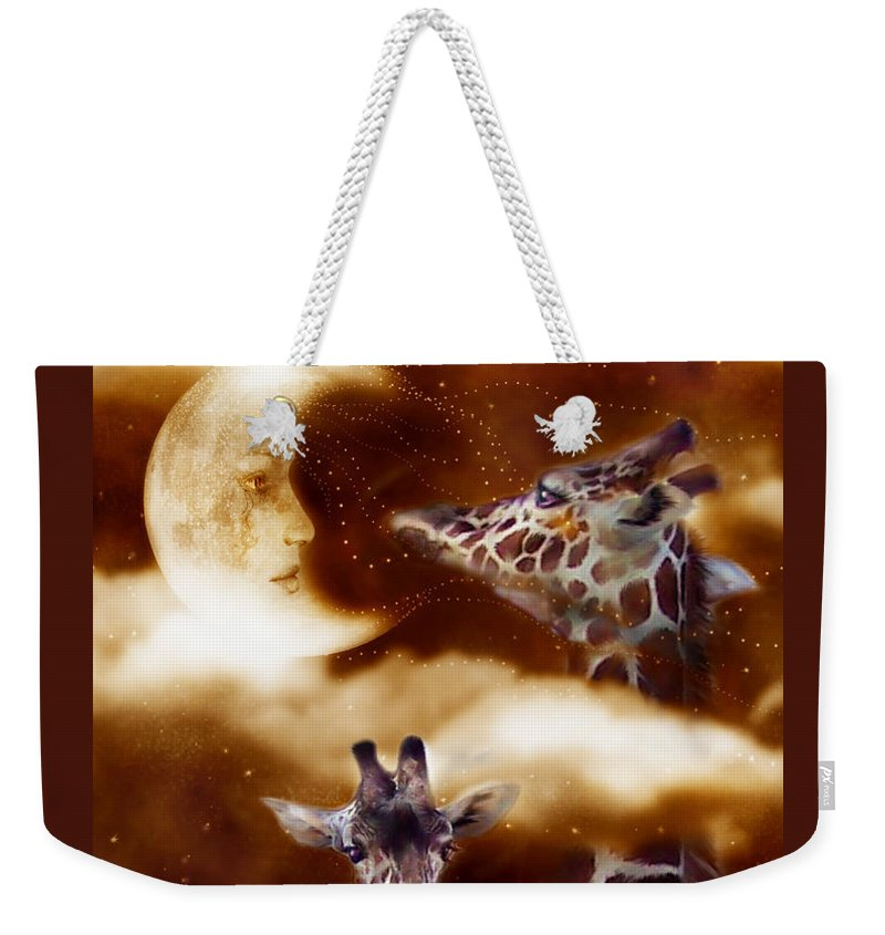 Giraffe Weekender Tote Bag featuring the mixed media Way Up There by Carol Cavalaris