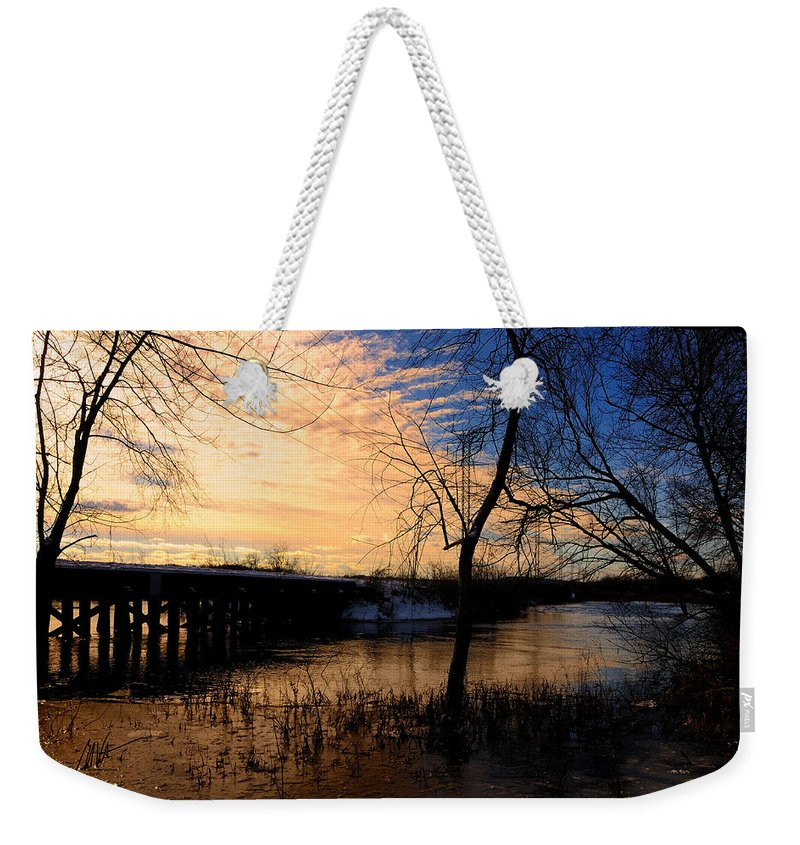 Wayland Weekender Tote Bag featuring the photograph Wayland Central Mass Rr Trestle by Mark Valentine