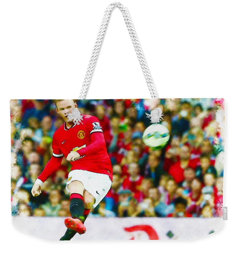 English Weekender Tote Bag featuring the digital art Wayne Rooney by Don Kuing