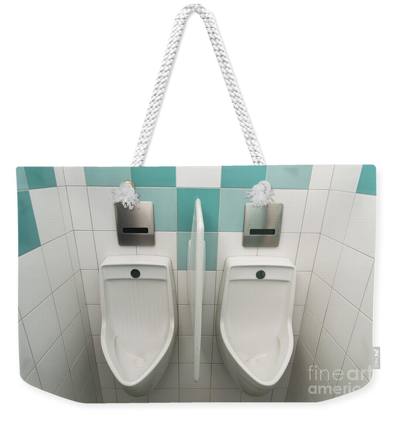 Urinal Weekender Tote Bag featuring the photograph WC by Mats Silvan