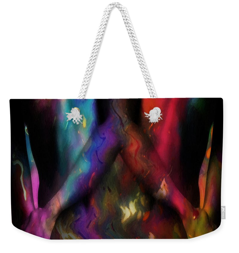 Woman Women Nude Naked Boobs Tits Breast Color Colorful Abstract Impressionism Expressionism Two Arms Hand Body Scape Female Erotic Sex Sexual Weekender Tote Bag featuring the painting We Two Are One Oil by Steve K