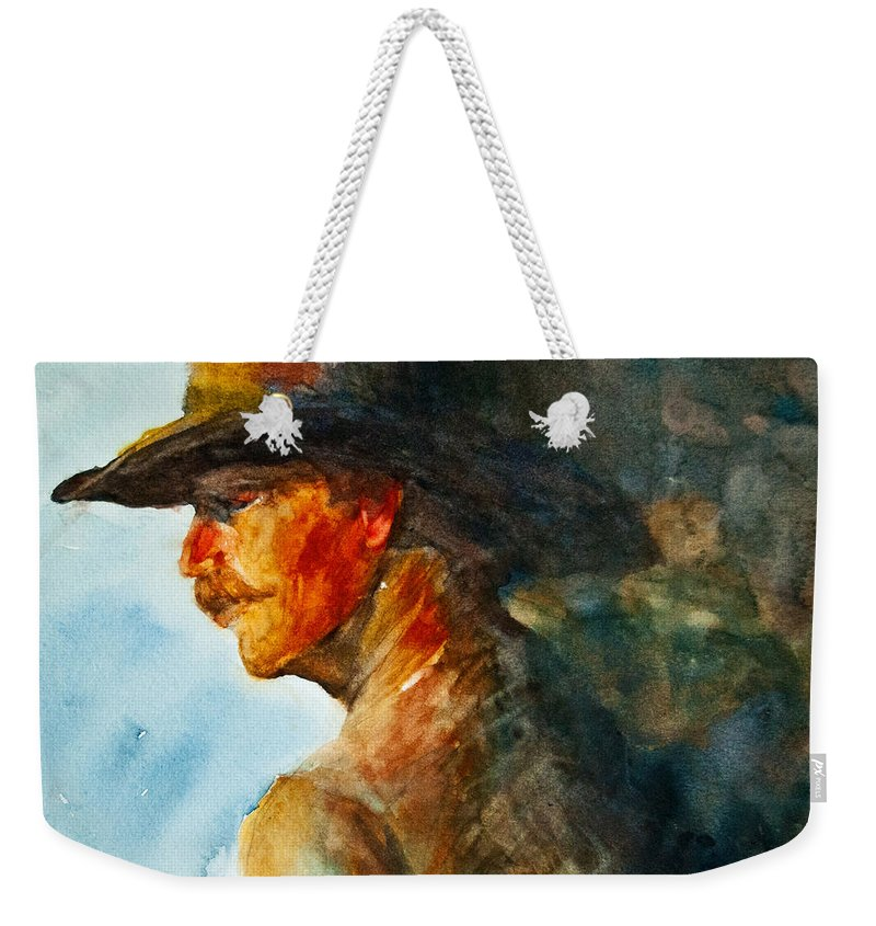 Cowboy Art Weekender Tote Bag featuring the painting Weathered Cowboy by Jani Freimann