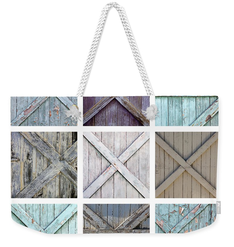 Garage Weekender Tote Bag featuring the photograph Weathered Paint by Art Block Collections