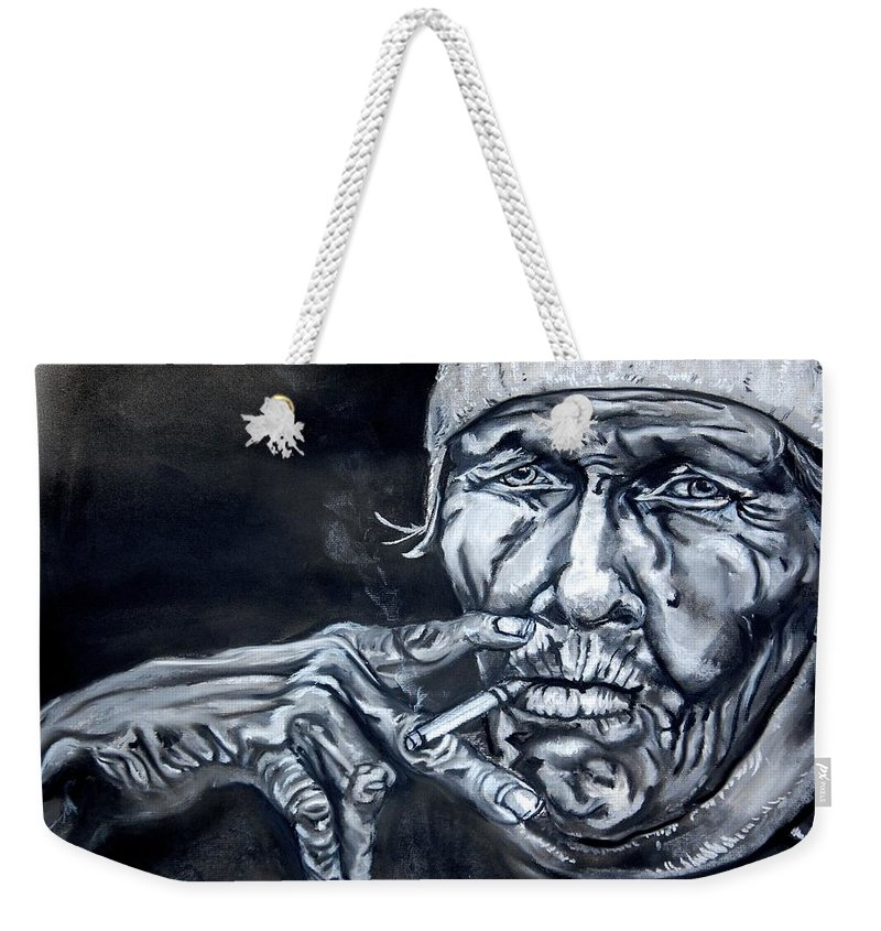 Face. Hands. Smoke. Smoking. Cigarette. Tired. Sailor. Depiction. Charcoal. Black And White. Eyes. Darkness Weekender Tote Bag featuring the painting Weathered Sailor by Andres A Garcia-Velez