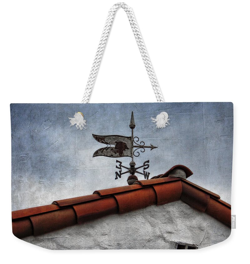 Weathervane Weekender Tote Bag featuring the photograph Weathered Weathervane by Carol Leigh