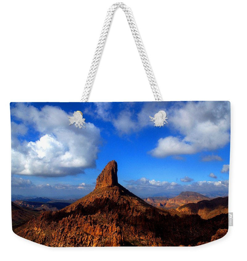 Weaver�s Needle Phoenix Arizona Superstition Wilderness Tonto National Forest Saguaro Cacti Cactus Lost Dutchman Gold Mine Weaver's Needle Thick Layer Of Tuff (fused Volcanic Ash) Was Heavily Eroded Weekender Tote Bag featuring the photograph Weaver's Needle by Reed Rahn