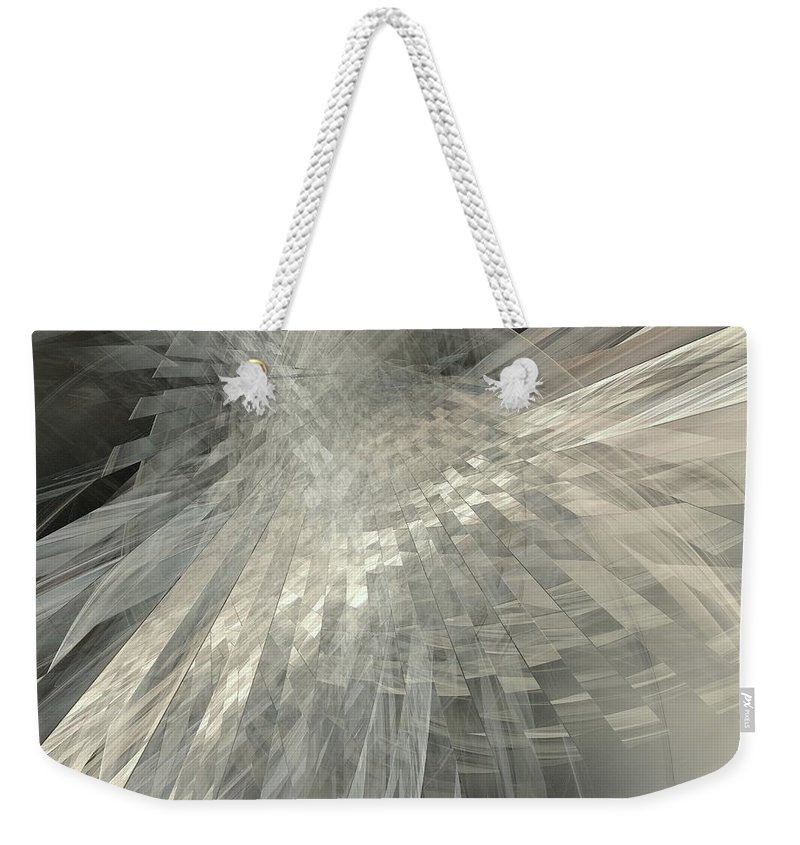 Weaving White And Gray Weekender Tote Bag featuring the digital art Weaving White And Gray by Elizabeth McTaggart