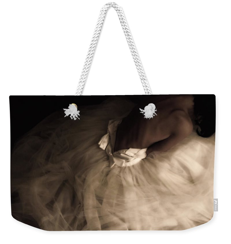 Weddings Weekender Tote Bag featuring the photograph Wedding Jitters by Kristie Bonnewell