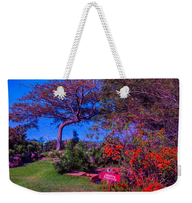 Tropical Weekender Tote Bag featuring the painting Wedding Promontory by Omaste Witkowski