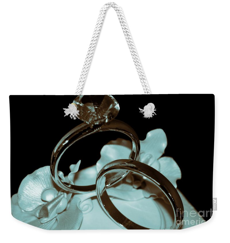 Wedding Ring Weekender Tote Bag featuring the photograph Wedding Ring Cake Topper Cyan by Lesa Fine
