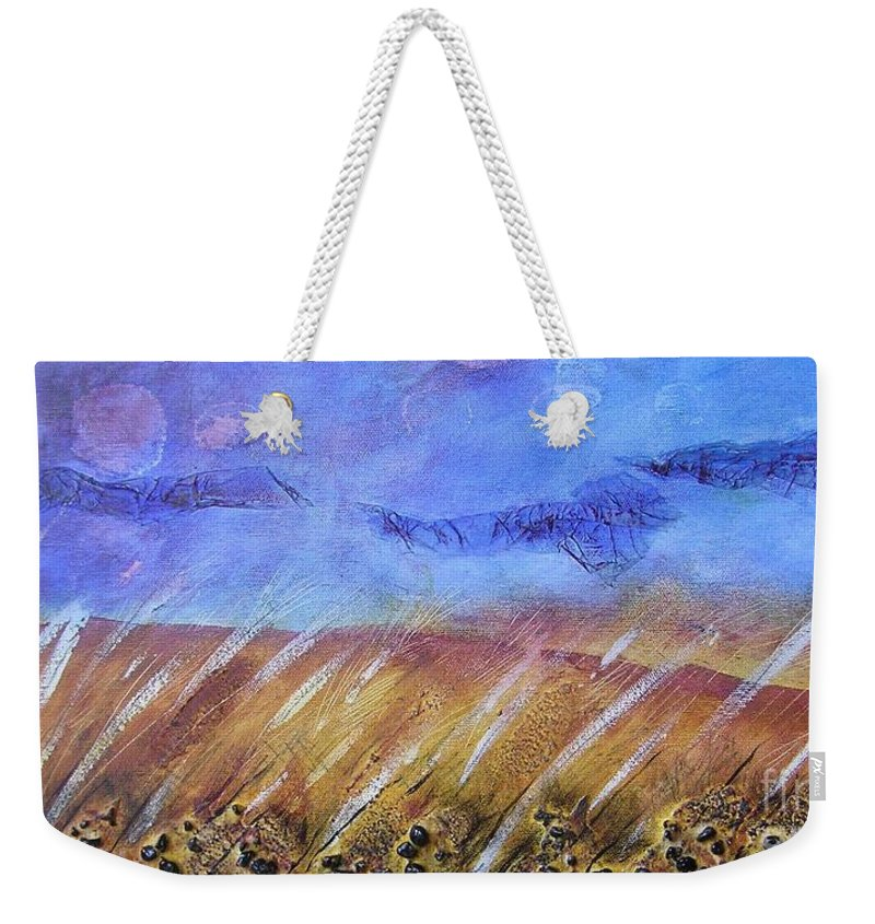 Landscape Weekender Tote Bag featuring the painting Weeds Among The Wheat by Jocelyn Friis