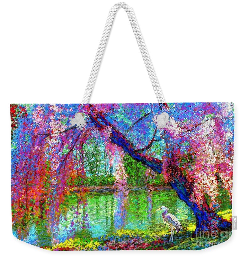 Spring Weekender Tote Bag featuring the painting Weeping Beauty, Cherry Blossom Tree and Heron by Jane Small